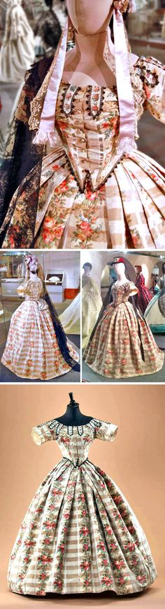 Front-closing evening dress from ca. 1860s. From Alexandre Vassiliev's collection. Photos from Brother at Your Side and Vassiliev's Facebook. evening dresses, circa 1860s