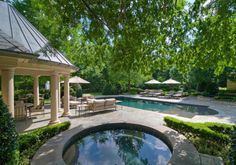Backyard pool with lots of shade and green.