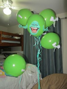 Ghostbuster Party Make Slimers print out faces and arms, tape to ...