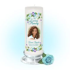 3x9 Pillar Candles : Dedication Memorial Pillar Photo Candle White, Unscented. Stand, optional
