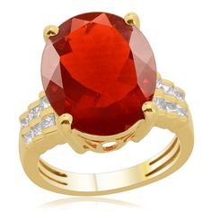 Liquidation Channel | 14K YG Jalisco Fire Opal and Diamond Ring