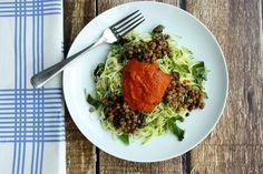 Zucchini Pasta with Lentils.