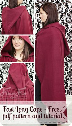Make this cape in under an hour - perfect for Halloween. New Free Pattern: Fast Hooded Cape ♥ Fleece Fun #sew #cape #halloween