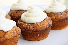 pumpkin spice muffins with cream cheese frosting!