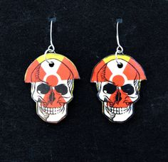 Nuclear Waste Skull  Pog Earrings by MadScientistsDesigns on Etsy, $10.00