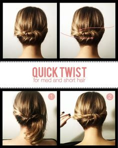 For short to medium length hair. must try!! thebooknerd casual wedding, diy hairstyles, quick twist, beauty tips, shorter hair, fitness, dates, short hair styles, diets