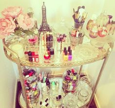bar cart as a vanity table.