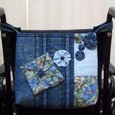 Wheelchair Walker Tote Bag Handcrafted in Blue by Jade