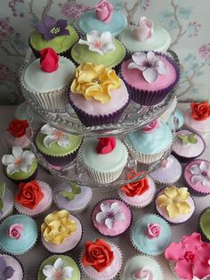 perfect for a garden party flower decorations, garden parties, wedding cakes, flower cupcakes, flower ideas, colorful weddings, wedding cup cakes, cupcake towers, fondant cupcakes