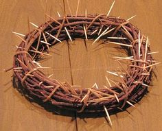 simple crown of thorns using a mini grapevine wreath as a base and toothpicks