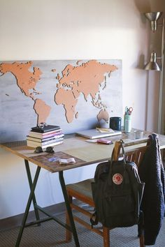 Cork World Map on wood 10 Impressive DIY Wall Art Projects from Our House Tours — Apartment Therapy's Home Remedies