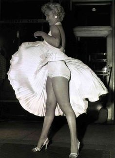 Marilyn Monroe  with the famous white dress, but from a different angle.
