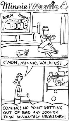 Westie cartoon: pawsome time management!