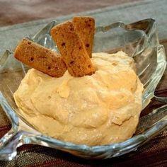 Pumpkin Dip Appetizer 1 tub cool whip 1 instant vanilla pudding mix 1 can pumpkin Directions: Mix above ingredients and serve with graham cracker sticks, apple wedges, or ginger snaps. YUM!
