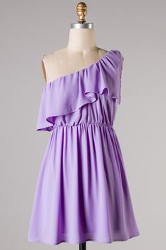 one shoulder lilac ruffle dress #swoonboutique