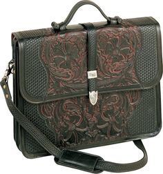 Leather Laptop Case - Hand Tooled Black Cherry Saddle Leather #Vogt