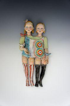 Bird Keeper ceramic sculpture by clay artist Victoria Rose Martin. $275.00, via Etsy.