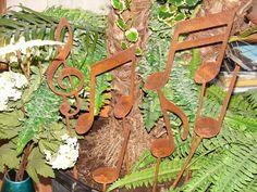 Metal Musical Notes GARDEN STAKES Set Yard Decor Music. $39.99, via Etsy. yard, garden stakes, metal art, metal music, metal cnc art