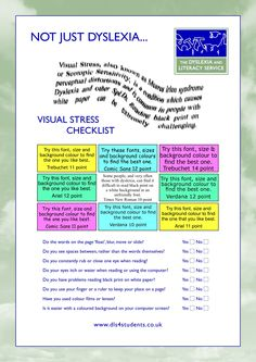 Visual Stress Checklist and coping strategies.