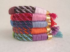 Raffia & Colored Thread Bracelets