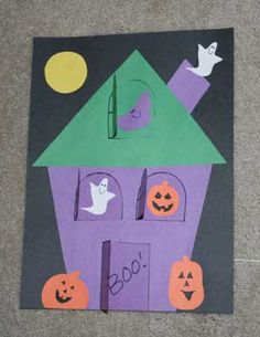 H is for Haunted House craft WITH template. Awesome.