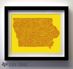 Iowa Towns Map  Cardinal & Gold by texowadesigns on Etsy, $25.00