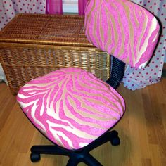 Recovered office chair. Fabric from Hobby Lobby