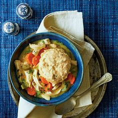 Chicken and Cornbread Dumplings | Make a classic chicken and dumplings recipe even more Southern by topping the vegetable-and-chicken-packed stew with cornbread dumplings. | SouthernLiving.com