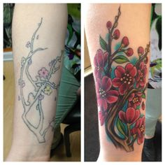 An amazing cover up of Cherry Blossoms done by Margo at Holy City Tattooing Collective in Charleston, SC