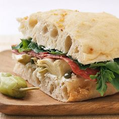 Stuffed Focaccia: Stuffed with mascarpone cheese, #artichoke hearts, and salami, this cold #sandwich recipe is sure to be a brown bag winner.