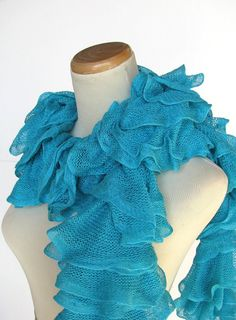 Turquoise Hand Knit Ruffled Scarf by ArlenesBoutique on Etsy, $45.00