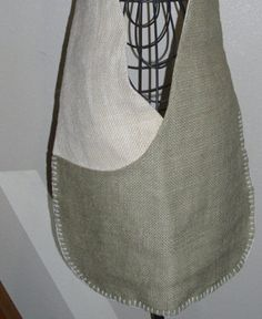 Burlap Sling Hobo Messenger Bag Purse by goruth34 on Etsy, $35.00