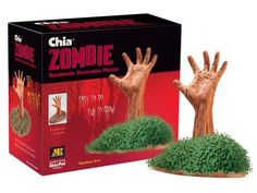 Chia Zombie heads are reaching for your brains while growing luscious green hair from seed - grow your own undead!- need ten of these for Halloween for front gate entrance