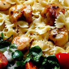 Basil Pan-Seared Scallops over Pasta   This dish is so easy to make, but tastes like you slaved away in the kitchen. Makes an excellent main course, or add spinach or asparagus to turn it into a meal in itself.