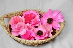One Dozen Pink Flowers made of Birch wood Shavings - SALE
