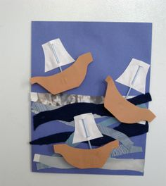 art project for Columbus day, I love the 3-d aspect of it, using little boxes so the boats stick out