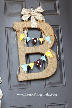 porch 11 monogram wreath, burlap wreaths, burlap monogram, door, twine monogram, porch