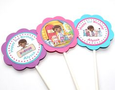 Doc McStuffins Birthday Party - Cupcake Toppers - Set of 24. $20.00, via Etsy.