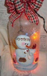 Cute Snowman Wine Bottle Light - Hand Painted Wine Bottles