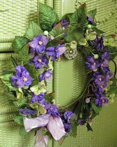 .Purple Violets Spring Wreath