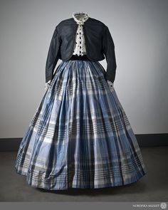 #Dress from the 1860s with checked skirt and Zouave jacket.  Plaid Dress #2dayslook #new #Plaid fashion  www.2dayslook.com