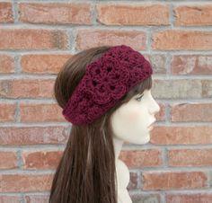Maroon Headband Crochet Ear Warmer Crochet by foreverandrea, $22.00