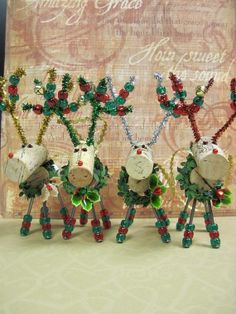 Adorable Christmas Wine Cork Reindeer Ornament by Cre8tivehearts, $8.95