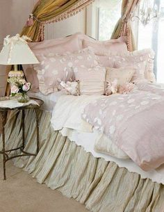 A beautiful bedroom with lashings of glamour and soft pink blush & white ...Stunning look