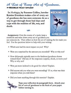 """FREE LANGUAGE ARTS LESSON - """"Mockingjay Hunger Games Acts of Goodness Challenge """" - Go to The Best of Teacher Entrepreneurs for this and hundreds of free lessons.   7th - 12th Grade   #FreeLesson   #TeachersPayTeachers   #TPT   #LanguageArts   http://www.thebestofteacherentrepreneurs.net/2012/03/free-language-arts-lesson-mockingjay.html"""