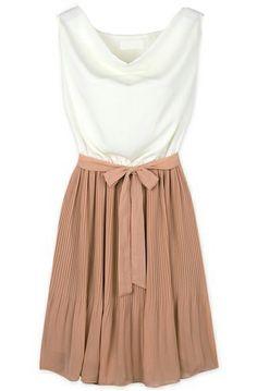 White Khaki Sleeveless Belt Pleated Dress - Sheinside.com