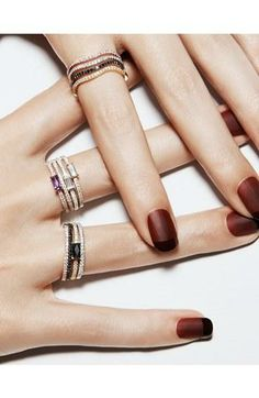 Stackable diamond baguette rings.
