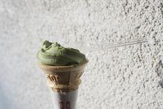 half eaten macha soymilk ice cream in Kyoto
