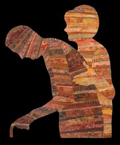 Ellen Lindner, Caring, 2006. Cotton, silk, and ultra suede fabrics, permanent marker.  Raw edge collage, machine quilting.