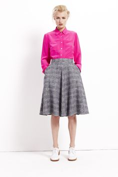 #BestofBritish Pure Silk Blouse and Silk Rich Checked A-Line Skirt with Linen #SS14
